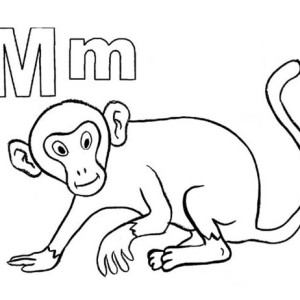 M Letter For Mr Monkey Coloring Page