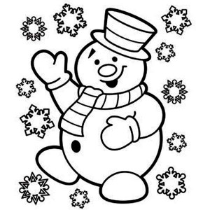 Mr Snowman Is Very Happy For Christmas Coloring Page