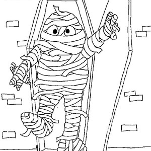 Mummy Crawl Out From His Chest Coloring Page