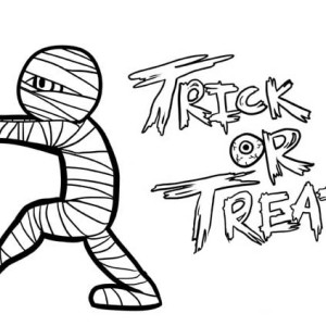 Mummy Trick Or Treat Free Coloring Page