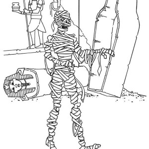 Mummy Waking From His Grave Funny Coloring Page