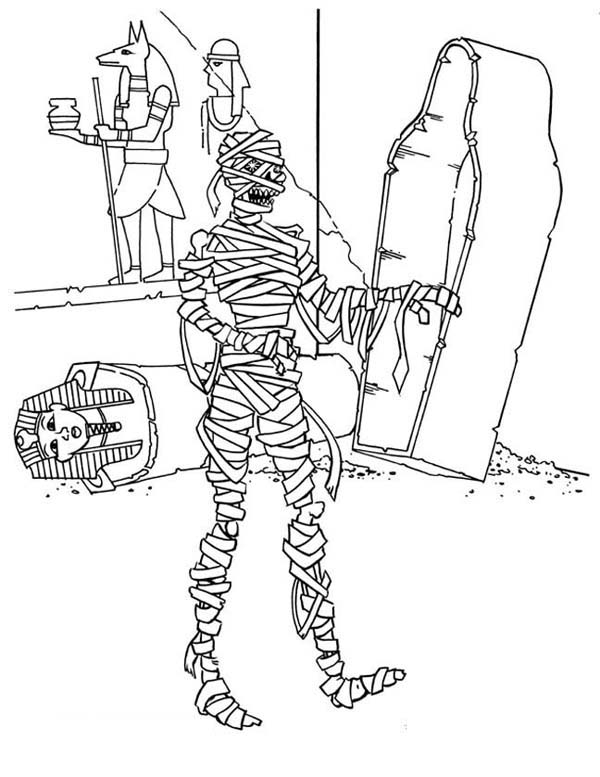 Mummy Waking From His Grave Funny Coloring Page Download Print