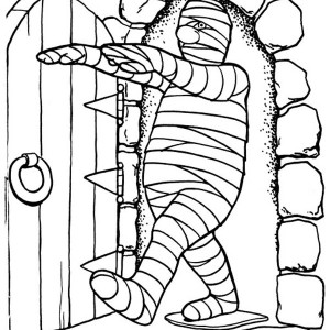 Mummy Walking Into The Chamber Free Coloring Page