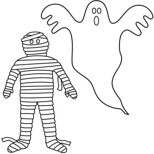 Mummy And White Ghost Coloring Page