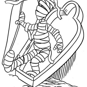 Mummy Waken Up Funny Coloring Page