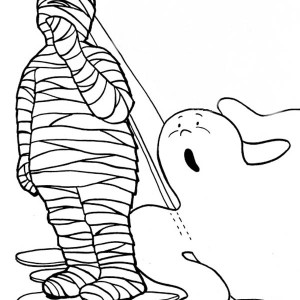 Mummy With Goofy Ghost Free Coloring Page