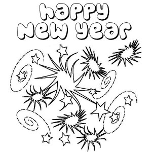 New Years Eve With Lots Of Fireworks Coloring Page