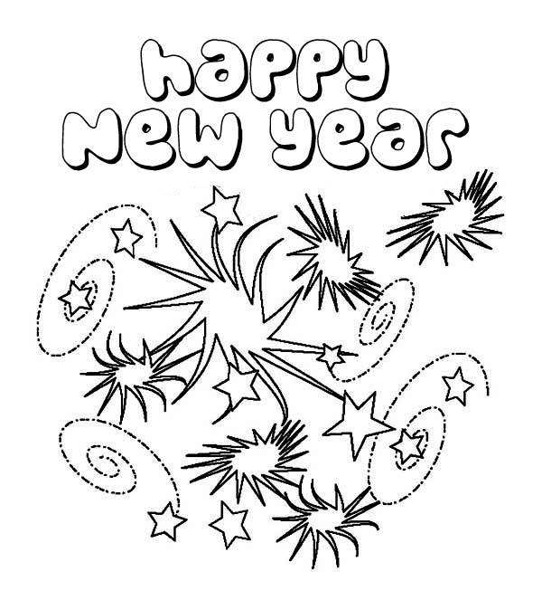 new year coloring pages 2013 | New Years Eve With Lots Of Fireworks Coloring Page ...