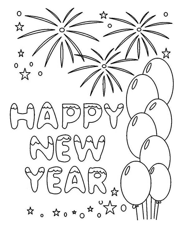 New Years Greeting Card Coloring Page - Download & Print ...