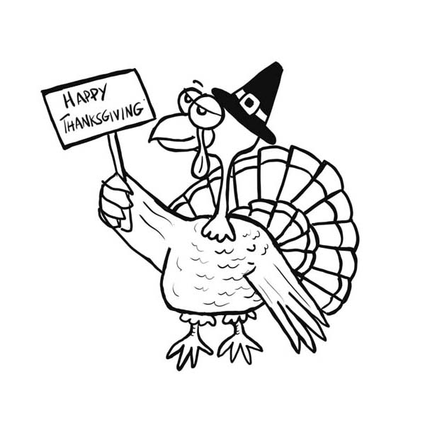 Old Turkey Says Happy Thanksgiving Day Coloring Page Download