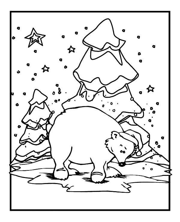 Polar Bear Wearing Santas Hat On Winter Coloring Page ...