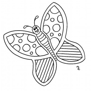 Pretty Cartoon Butterfly With Lovely Pattern Coloring Page