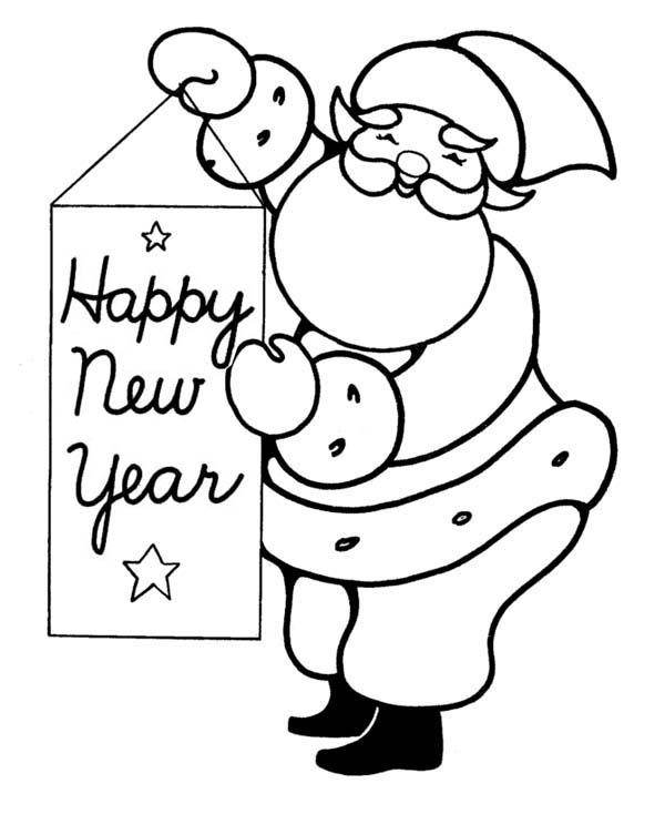 santa says happy new year ho ho ho coloring page