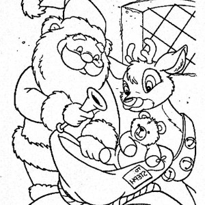 Santa And The Reindeer Putting Toys On The Christmas Sack Coloring Page