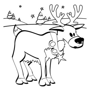 Santas Reindeer On The Snow Field Coloring Page