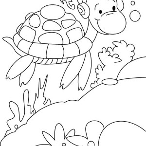 Sea Turtle Listening Music With Earphone Coloring Page