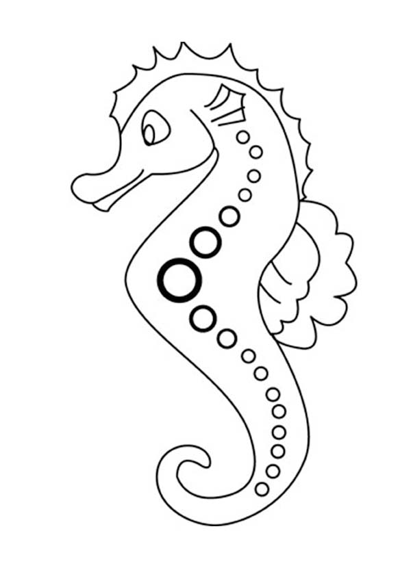Seahorse With Dotted Line Art Patern Coloring Page ...