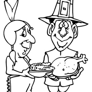 Sharing Food On Thanksgiving Day Celebration Coloring Page