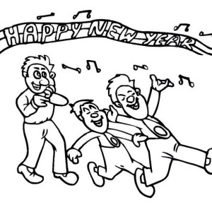 Singing A New Years Song On New Years Eve Coloring Page