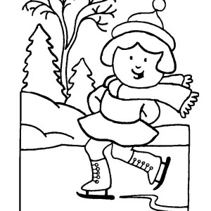 Skillful Little Girl Playing Ice Skates On Winter Coloring Page