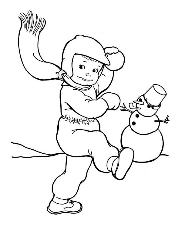 Snowball Fight On Winter Outdoor Activity Coloring Page