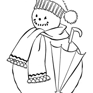 Snowman With Scraf And Umbrella Coloring Page
