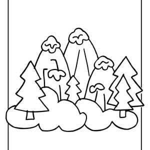 Snowy Winter Mountain Illustration Coloring Page