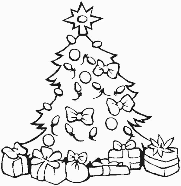 Stunning Christmas Tree With All The Ornaments And Gifts Coloring Rhcolornimbus: Coloring Pages Of A Christmas Tree At Baymontmadison.com