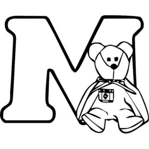 Teddy Bear With Letter M Coloring Page