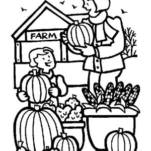 Thanksgiving Day Activities On The Farm Coloring Page