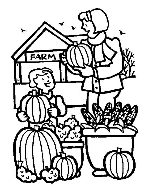 Thanksgiving Day Activities On The Farm Coloring Page ...