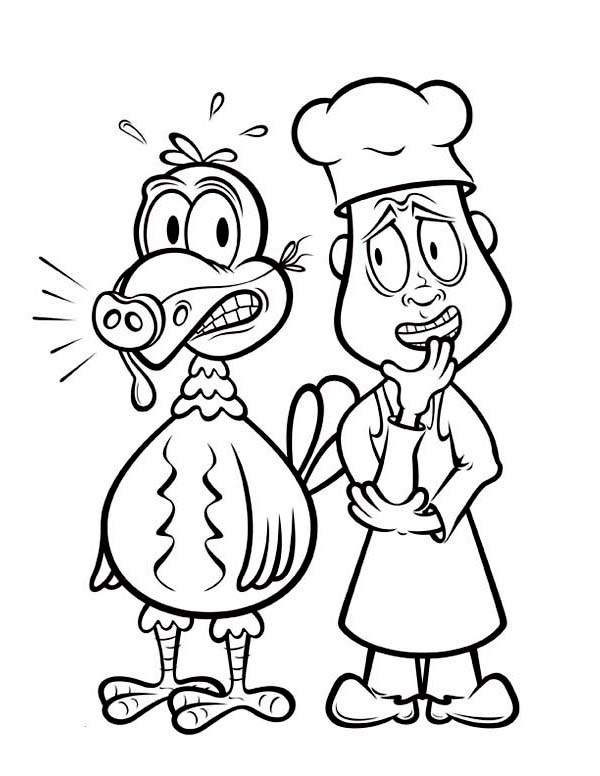 Thanksgiving Day Turkey And The Chef Coloring Page Download