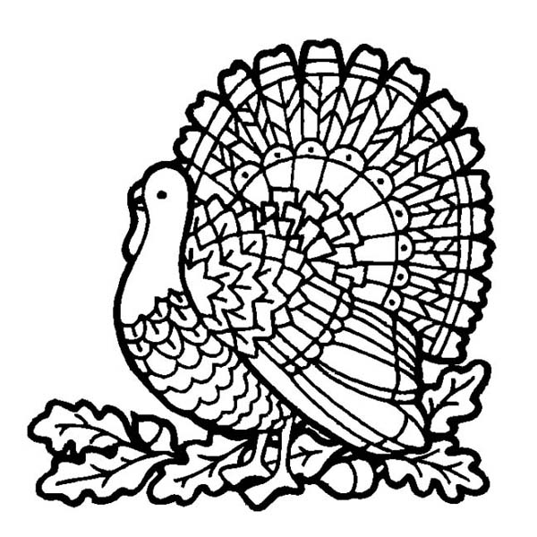 Thanksgiving Day Turkey On Mozaic Coloring Page Download Print