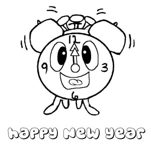 The Clock Says Happy New Year Everyone Coloring Page