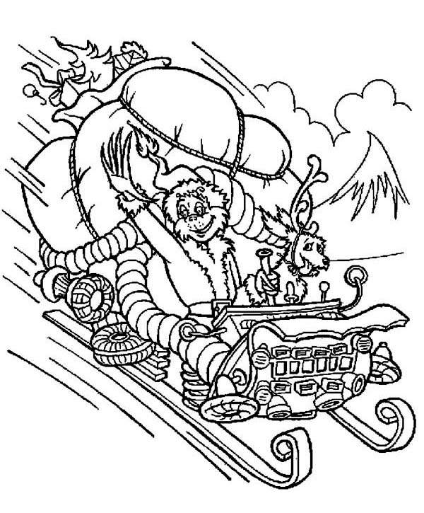 the grinch stolen santas sleigh coloring page