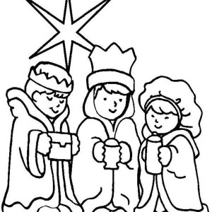 Three Wise Men On Christmas Day Coloring Page