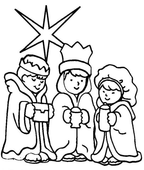 Three Wise Men On Christmas Day Coloring Page Download Print