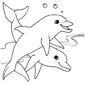 Two Cute Dolphin Sea Animals Coloring Page