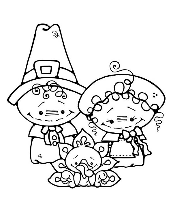 Two Cute Little Pilgrim Kids On Thanksgiving Day Coloring ...