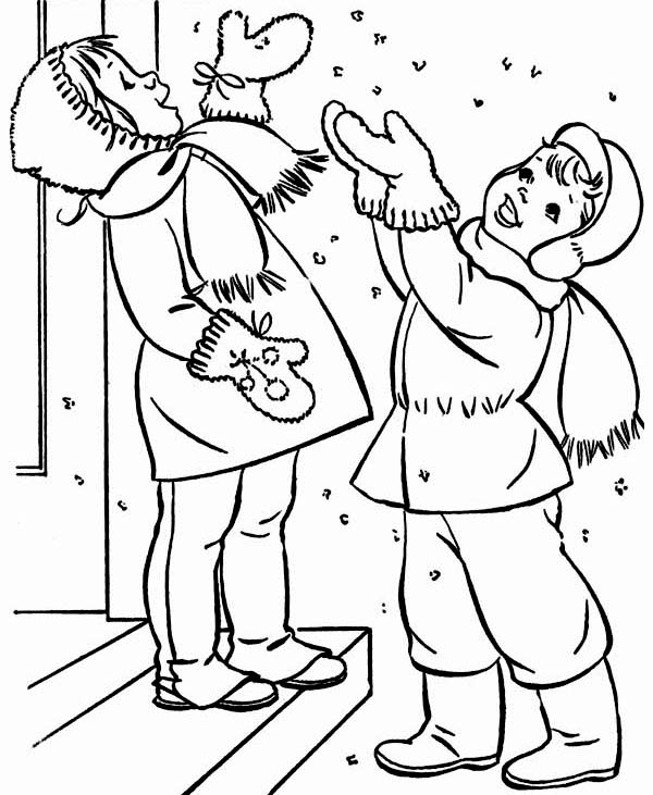 Two Happy Kids Cheering The First Winter Snow Coloring Page