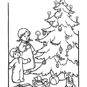 Two Kids Cheering The Christmas Trees On Winter Coloring Page