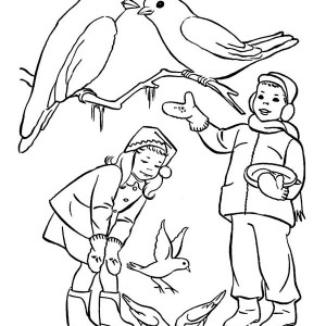 Two Kids Feeding Birds On Winter Coloring Page