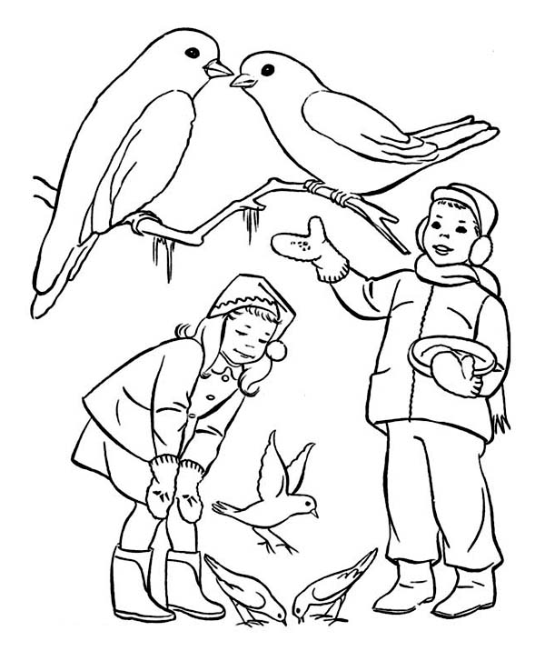 Two Kids Feeding Birds On Winter Coloring Page - Download & Print ...