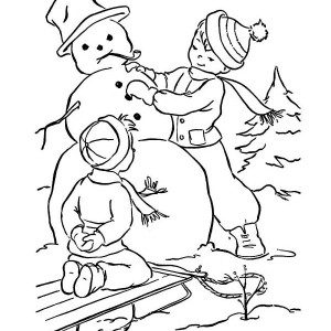 Two Little Boy Making Mr Snowman On Winter Coloring Page