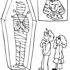 Visiting Museum Mummy Exhibition Free Coloring Page