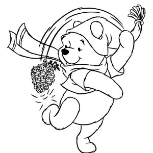 Winnie The Pooh Playing With Cone Pine On Winter Coloring Page