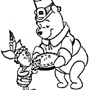 Winnie The Pooh And Piglet Celebrating Thanksgiving Day Coloring Page