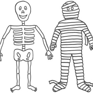 Mummy And His Friend Mr Skeleton Funny Coloring Page