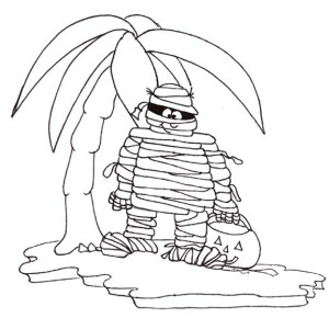 Mummy Holding Jak'o Head In A Island   Funny Coloring Page