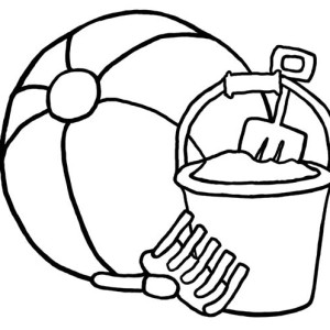 A Beach Ball And Beach Bucket Sets Coloring Page